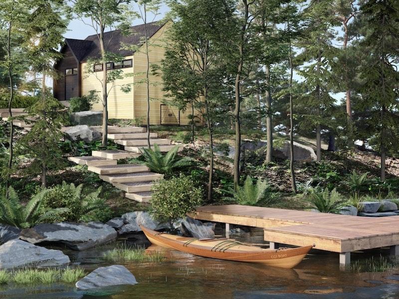 Marina privée, seulement pour les habitants de cité nature. Photo du plan, construction printemps 2020.