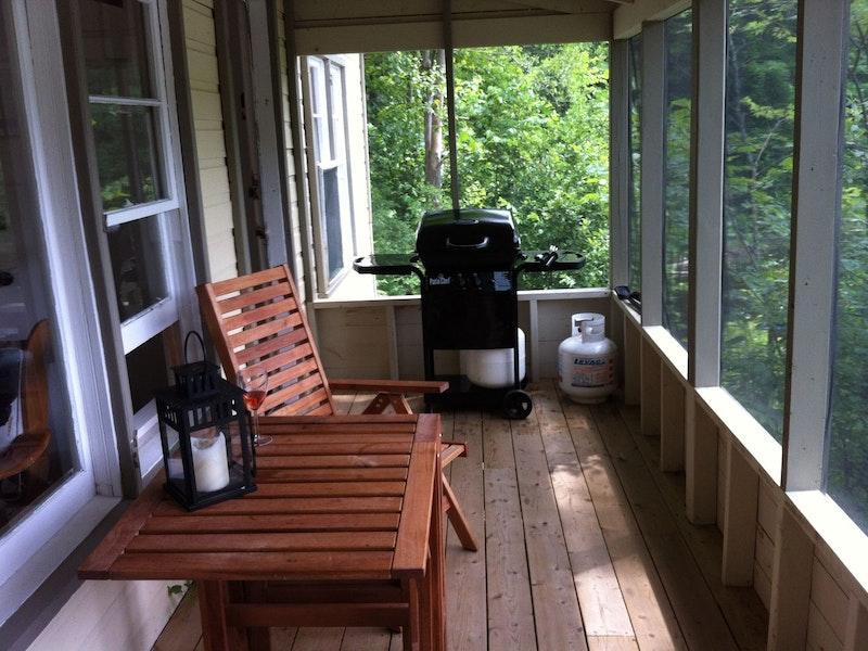terrasse grillagée avec BBq
